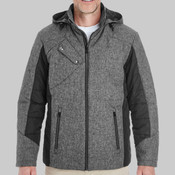Men's Midtown Insulated Fabric-Block Jacket with Crosshatch Mélange